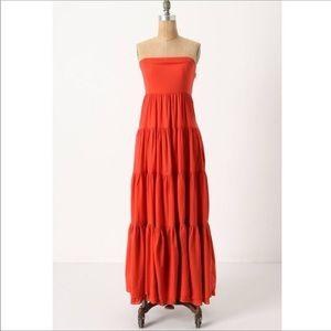 """Edme & Esyllte """"Picacho"""" Orange Tiered Maxi Dress"""